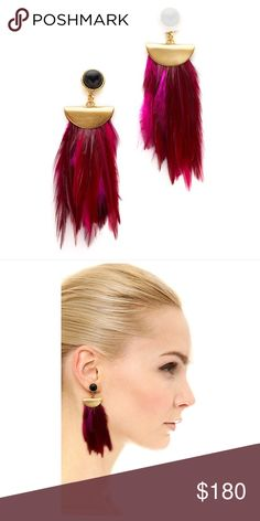 Lizzie Fortunato Pink Parrot Earrings Onyx cabochons anchor the fanned feathers on these bold, exotic Lizzie Fortunato earrings. Post closure. 1st and 2nd photos are stock photos. 3rd is of actual item. 18k gold plate. Made in the USA. Measurements Length: 3.25in / 8cm Lizzie Fortunato Jewelry