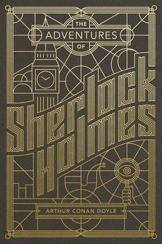 la copertina di questo classico di Sir. Arthur Conan Doyle gioca sui contrasti: quello fra l'oro vivace e luminoso che risalta sullo sfondo nero; quello fra le linee sinuose e dinamiche dello sfondo e quelle ortogonali dello sfondo che compongono gli oggetti simbolo del detective londinese.