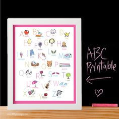 Darling Pink ABC Printable by My Little Girl Designs ~ perfect for a baby shower gift and the nursery! (also available in gray and turquoise)