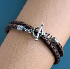 Mens Bracelet Leather Wrap Black & Tan Braid Silver Toggle Clasp