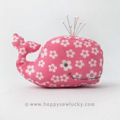 Cute pin-cushion made with Whale sewing pattern. Comes in 3 sizes. Etsy shop: HappySewLuckyShop http://www.etsy.com/listing/72632731/stuffie-whale-pdf-pattern?ref=pr_shop