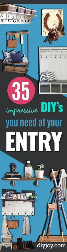DIY Ideas for Your Entry - Cool and Creative Home Decor or Entryway and Hall. Modern, Rustic and Classic Decor on a Budget. Impress House Guests and Fall in Love With These DIY Furniture and Wall Art Ideas http://diyjoy.com/diy-home-decor-entry