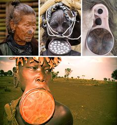What looks like disfigurement to some, is the height of beauty to others. Members of the Mursi tribe in Ethiopia judge beauty by the size of a female's lip plug. Girls begin placing plugs into their lips at a young age and slowly increase the plug size until the lip is stretched to a surprising degree. Women have to be careful not to increase the plug sizes too quickly, as someone with a broken lip will never find a husband.