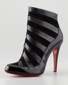 Christian Louboutin Amor Patent-Suede Bootie, Black - Neiman Marcus