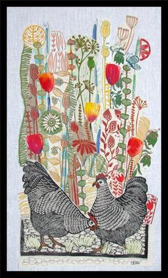 Two black hens, red flowers and yellow flowers in this floral collage with all hand printed textiles by Mariann Johansen-Ellis Illustration Inspiration, Art Inspiration Drawing, Collage Making, Collage Art, Textile Prints, Art Prints, Block Prints, Intaglio Printmaking, Lino Art