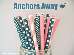 Navy Blue & Pink Mixed Paper Straws (Anchors Away - Pack of 25 Straws) Weddings Parties Showers Gifts Navy BluePink Party #Pink #Wedding #PinkWedding #Paper