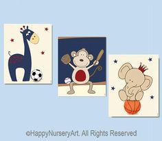 Baby boy nursery wall art children art prints by HappyNurseryArt