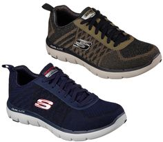 Skechers Mens Casual Trainers, available in 7-12 in Navy and Olive. Free postage if you order from our website! http://www.shoestationdirect.co.uk/skechers-flex-advantage-2-0-golden-point-mens-casual-trainers/