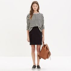 This pull-on mini skirt is sleek and stretchy, crafted from a brilliant mix of fabrics with a bit of hold-you-in magic (see: the stretchy mesh panels). A counterpoint to your favorite pencil skirt, it's the epitome of easygoing cool.