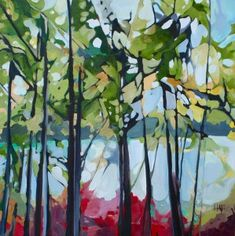 Forest Light 3 by Holly Ann Friesen Abstract Tree Painting, Forest Painting, Watercolor Trees, Abstract Landscape, Landscape Paintings, Abstract Trees, Painting Trees, Forest Light, Summer Art