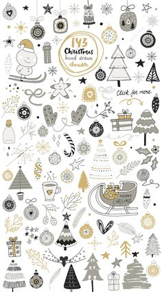 Christmas Collection by JB ART CHRISTMAS COLLECTION includes more than 143 hand drawn clipart elements (colored & outline variations) and 32 lettering phrases & words (black & white versions). Christmas Doodles, Christmas Drawing, Christmas Cards To Make, Christmas Design, Christmas Art, Christmas Decorations, Christmas Icons, Christmas Clipart, Christmas Christmas