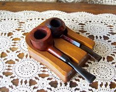 Vintage Pipe Holder Pipe Stand Walnut Pipe Holder Two Pipe Holder