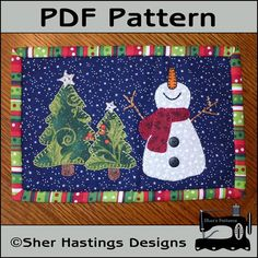 PDF Pattern for Happy Snowman Mug Rug, Christmas Mug Rug Pattern, Snowman Mini Quilt Pattern - Tutorial, DIY