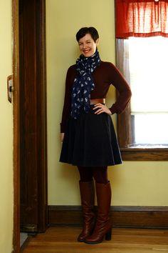 navy white cat scarf, sweater, corduroy skirt, dark tights, brown boots