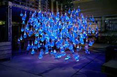 800 Glowing Blue Raindrops by Luzinterruptus - My Modern Metropolis