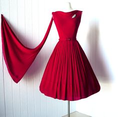 vintage 1950s dress ...gorgeous LIPSTICK RED crepe chiffon cascading scarf