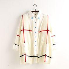 Plaid Knit Cardigan V-neck Fashion Sweater