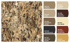 -- santa cecilia is the sample I liked best. I like the Copper Red and Honeycomb colors the shown. Paint Color Schemes, Kitchen Colour Schemes, Kitchen Paint Colors, Paint Colors For Home, Painting Kitchen Cabinets, House Colors, Kitchen Cabinetry, Granite Paint, Brown Granite Countertops