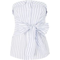 Topshop Knot Front Bandeau Top (445 UYU) ❤ liked on Polyvore featuring tops, topshop, ivory, knot front top, ivory top, button top, bandeau bikini tops and striped top