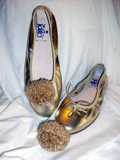 ballerine color oro e pon pon le dudu' di lurex oro