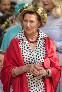 King Harald, Queen Sonja, Crown Princess Mette-Marit, Princess Martha Louise attends a garden party during the Royal Silver Jubilee Tour on June 23, 2016 in Trondheim, Norway.