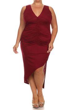 Plus Size Dashing Ruched Dip Hem Burgundy Midi Dress
