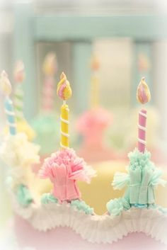Cool candles on a birthday cake