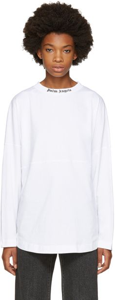 Palm Angels - White Long Sleeve Logo T-Shirt