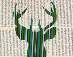 Deer Head Art Deer Head Silhouette With by FiddleheadsForFiona, $24.00