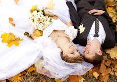 Autumn Wedding couple photo, fall, leaf