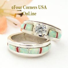 Four Corners USA Online - Size 5 1/2 White Fire Opal and Coral Engagement Bridal Wedding Ring Set Native American Wilbert Muskett Jr WS-1628, $240.00 (http://stores.fourcornersusaonline.com/size-5-1-2-white-fire-opal-and-coral-engagement-bridal-wedding-ring-set-native-american-wilbert-muskett-jr-ws-1628/)