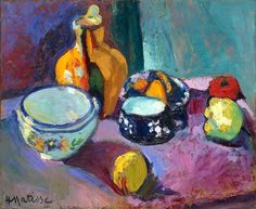 Henri Matisse - Dishes and Fruit   Reminds me of The Barnes.  I'd like to go back...
