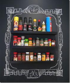 Kitchen Spice Storage Framed In Chalk
