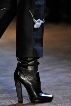 YSL square toe boots with a thick heel.  These may be the most beautiful thing I have ever seen!