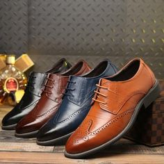 premium selection f20b2 a15d5 Leather shoes 2018 new comfortable lace up leather business casual shoes  men bullock shoes plus size men flat party shoes