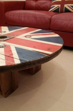 Hi and thank you for taking the time to look at my work! I create custom, Unique Rustic Furniture unlike anything you will find in the United Arab Emirates (UAE).   Made from an industrial cable drum that is full of character, sanded down before a hand painted Union Jack is applied and then distressed, all finished with a coat of varnish to give it a warm, industrial look and feel.  Contact Darwin RusticArtDesign@aol.com www.facebook.com/RusticArtDesign