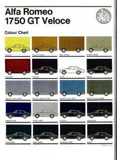 Alfa Romeo colour chart