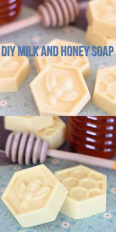 This easy DIY Milk and Honey soap can be made in just 10 minutes, and it boasts lots of great skin benefits from the goat's milk and honey! A wonderful quick and easy homemade gift idea! soap bars for beginners shea butter DIY Milk & Honey Soap Easy Homemade Gifts, Homemade Soap Recipes, Beeswax Recipes, Homemade Bath Bombs, Homemade Products, Diy Products, Cold Press Soap Recipes, Diy Bath Bombs, Diy Beauty Products To Sell