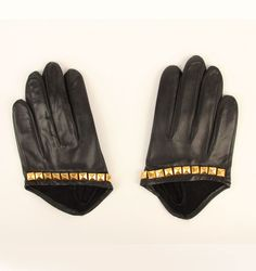 $58 5 Finger Half Gloves with Pyramid Studs
