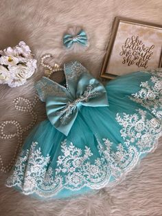 Teal/ White Tutu Dress with White Lace Details Kids Dress Wear, Kids Outfits Girls, Toddler Girl Dresses, Baby Dress Design, Baby Girl Dress Patterns, Baby Frocks Designs, Kids Frocks Design, 1st Birthday Girl Dress, Baby Girl Frocks