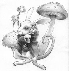 shaded white rabbit drawing