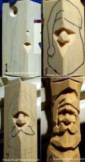 Santa Claus - head in 4 steps - Today Pin - Wood Carving Designs Simple Wood Carving, Wood Carving Faces, Dremel Wood Carving, Wood Carving Designs, Wood Carving Patterns, Wood Carving Art, Stone Carving, Wood Art, Wood Carvings