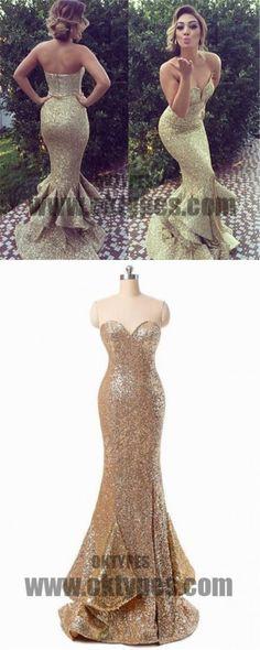 Golden Sequin Prom dresses, Long Mermaid Prom Dresses, Sweetheart Prom Dresses, Zipper Prom Dresses, Ruffles Prom Dresses, TYP0204 #promdresses