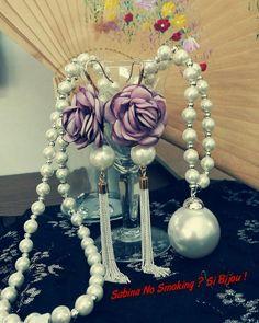 Collane di perle con orecchini di perle fiori ...vetrina #sabinanosmokingsibijou