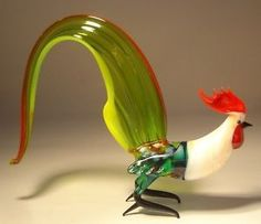 "Blown Glass ""Murano"" Animal Art Figurine Bird ROOSTER with Tall Green Tail"