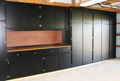 Image detail for -Black Melamine Garage Storage Cabinets with Work Bench (Ours won't be melamine but why not paint them black high gloss, easy to wash clean and they look great) Garage House, Garage Walls, Garage Doors, Garage Shop, Garage Flooring, Dream Garage, Plan Garage, Diy Garage, Garage Storage Cabinets