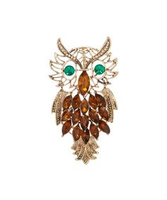Another great find on #zulily! Czech Crystal & Gold Owl Brooch by Ten79LA #zulilyfinds