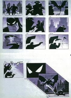 Batman: The Animated Series opening storyboard art by Bruce Timm : comicbooks Bruce Timm, Street Art Graffiti, Batman Fan Art, Batman Drawing, Comic Layout, Color Script, Batman The Animated Series, Storyboard Artist, Doodle