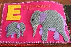 Elephant quiet book page use grey carpet for rough skin Diy Quiet Books, Baby Quiet Book, Felt Quiet Books, Quiet Book Patterns, Felt Crafts, Baby Crafts, Book Activities, Toddler Activities, Book Quilt