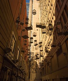 The evocative, unexpected chorus of chirping birds is one indication that you've come upon Angel Place, a small laneway in Sydney's central business district. Another: the 120 empty birdcages overhead. Artist Michael Thomas Hill created the installation in 2009 as a statement to draw attention to how development was pushing out wildlife.